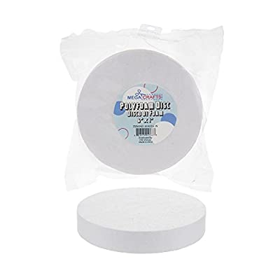 """Mega Crafts 2 Pcs White Poly Craft Foam 6"""" Inch Disc 