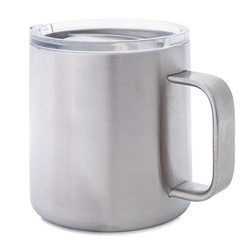 Stainless Steel Double Walled Mug: 16 oz Thick Gauge Metal Coffee Camp Cup with Lid - Insulated Mug with Handle Keeps Drinks Hot or Cold Longer - Durable, Rust Proof & Shatter Proof by Real Deal Steel