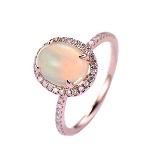 Oval Shape Opal Ring Elegant Luxury Party Wedding Decoration For Women,Inlaid Zircon Opal Solitaire Rings For Women For Girls (Rose Gold,8)