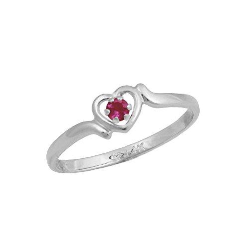 4 1/2 Girls 14K White Gold Genuine Ruby July Birthstone Heart Ring by Loveivy