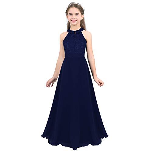MSemis Girls' Princess Halter Neck Floor-Length Lace Chiffon A-Line Junior Bridesmaid Dress Navy Blue Floor Length 14