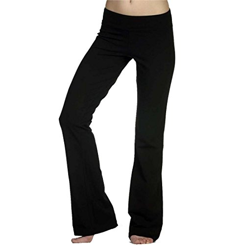 Hollywood Star Fashion Women's Solid Foldover Solid Bootleg Flare Yoga Pants (Small, Black)