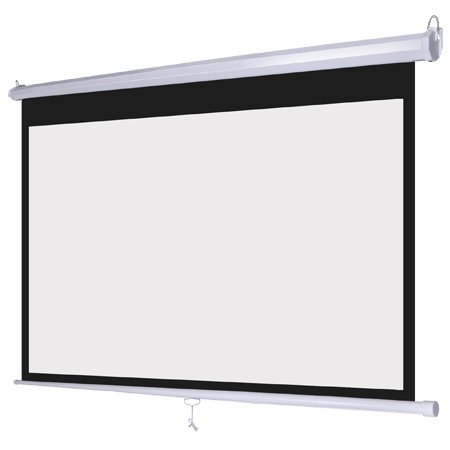 Manual Pull Down White Projection Screen Wall Ceiling Mounted 72'' Widescreen View 16:9 Ratio Steel Case for Home Movie Theater Office Video Projector Retractable by Generic