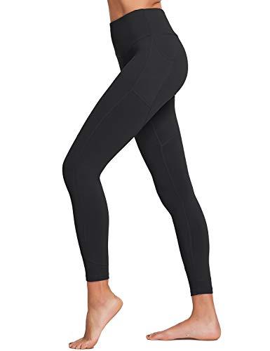 "BALEAF Women's 28"" High Waisted Yoga Leggings Stretchy Workout Training Pants Seamless Front Pocketed Leggings Black Size M"