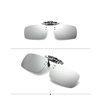 Caiyuangg® Lentilles polarisées, à clipser Lunettes de soleil rectangle objectif Flip Up Conduite Lunettes polarisant Lunettes de soleil, café