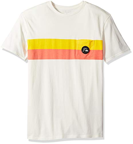 (Quiksilver Men's Season Stripe Pocket TEE, Gardenia, M)