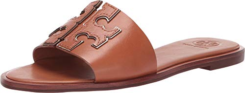 Tory Burch Women's Tan Gold INES Leather Slides (6 M US)