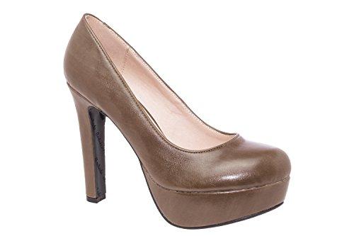Andres Machado.AM5051.Salones en Soft con plataforma.Para Mujer.Tallas Pequeñas/Grandes 32/35; 42/45 softtaupe