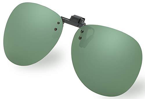 Diovento Polarized Clip-on Flip Up Rimless Sunglasses for Prescription Glasses (Glass Round Cross)
