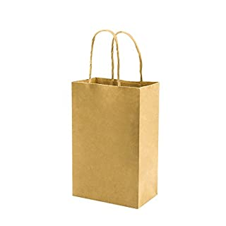 Plain Brown Small Paper Bags with Handles Bulk, 5.25x3.25x8 inch 100 Pack, bagmad Gift Paper Bags, Kraft Party Grocery Retail Shopping Bags, Craft Bags Cub Sacks (Not thick, 100pcs)