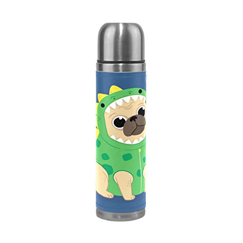 Yokii Bullet-Style Vacuum Flask,Double Wall Vacuum Cup Insulated Stainless Steel PU Leather Travel Mug for Girls Boys Kids Adult,Cute Pug with Dragon Costume,17 oz ()