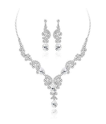 (YADOCA Women's Austrian Crystal Bridal Necklace Earrings Set Statement Floral Wave Teardrop Cluster Necklace Drop Dangle Earrings for Bridesmaid)