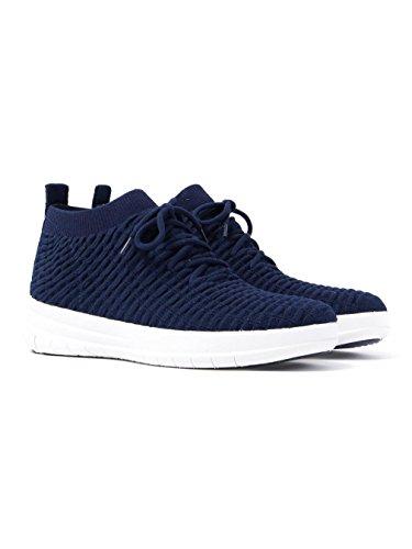 Fitflop Womens Uberknit Slip On High Top Sneaker In Cialda - Blu Notte