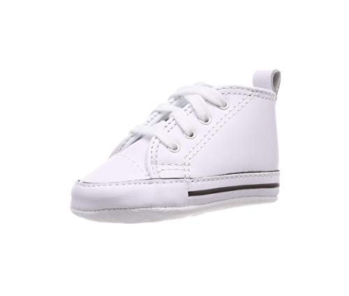 Converse CT Baby First Star Leather High Top Sneaker, White, 2 M US Infant]()