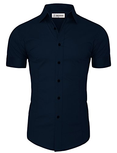 Tom's Ware Mens Casual Slim Fit Short Sleeve Button Down Shirt TWFD003-NAVY-US M