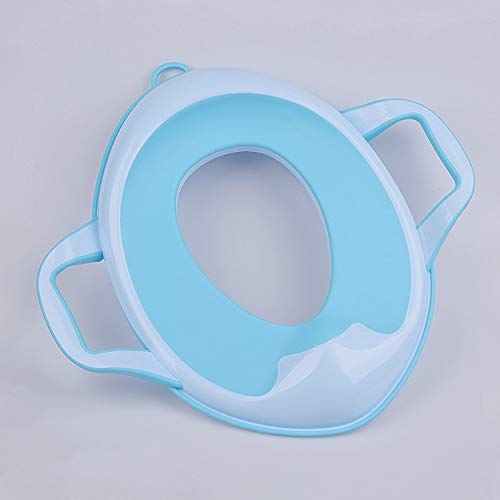 Potty Training Seat for Kids with Soft Cushion and Handles Toilet Training Seats, Non-Slip and Splash, Portable for Travel (Blue)