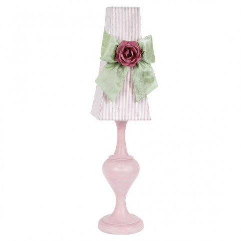 Jubilee Collection 873006-4704-717-MG2002 Pink//White Stripe Drum Shade with Modern Green Sash and Bright Pink Rose Magnet on Pink Curvature Base