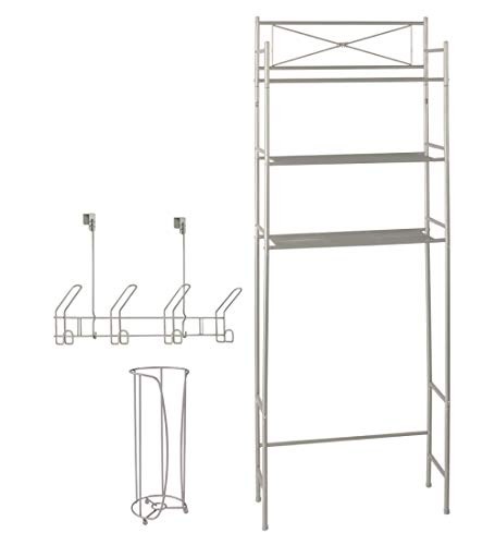 Over the Toilet Storage Bathroom Organizer Set  3 Shelf Above Toilet Space Saver Toilet Paper Holder Stand 4 Hook Over the Door Hanger Rack Bath Organizers and Accessories Satin Nickel Finish