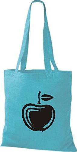 ShirtInStyle Bolso de tela Bolsa de algodón Tu Favorita frutas y hortalizas manzana - fucsia, 38 cm x 42 cm SKY