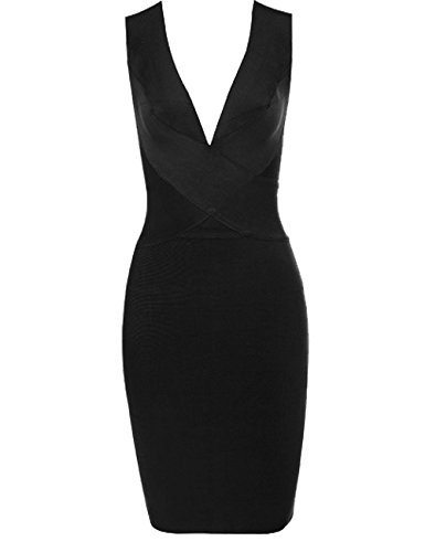 Whoinshop Women Rayon V-Neck Cross Front Bodycon Club Night Out Bandage Dress Black M