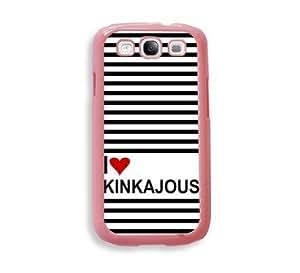 Love Heart Kinkajous Pink Plastic Bumper Samsung Galaxy S3 SIII i9300 Case - Fits Samsung Galaxy S3 SIII i9300