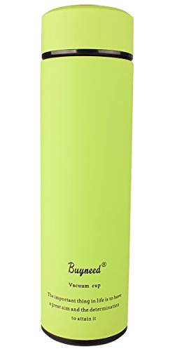 Double Wall Vacuum Insulated Travel Mug -Stainless Steel Loose Leaf Tea Infuser with Strainer - Coffee Tumbler- Fruit and Juice Infused,Leak-Proof Cup, Portable 16 Oz Thermal Water Bottle,Green