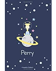 Perry: Personalized Composition Notebook. College Ruled and Lined Exercise Book for School Notes, Assignments, Homework, Essay Writing, Diary. Pickled Bluewood cover with Giraffe funny cover