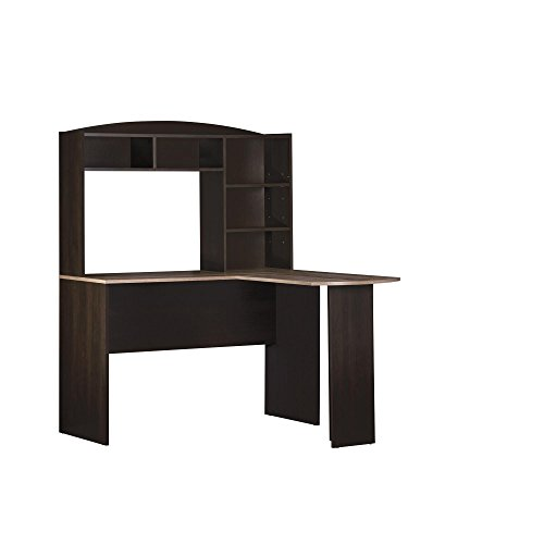 Altra Dakota Space Saving L Desk with Hutch Espresso/Rustic Medium Oak (Office Home Furniture Desk Corner)