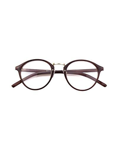 CGID Classic Nerdbrille Nostalgie Pantobrille Streberbrille Hornbrille clear lens Damen Herren,Braun