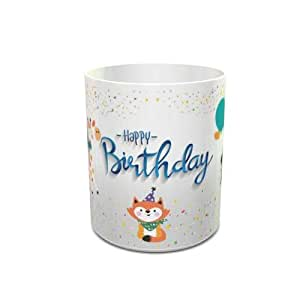 White Ceramic Tea Cup 6 Oz with Birthday Wishes to Kids Design 109
