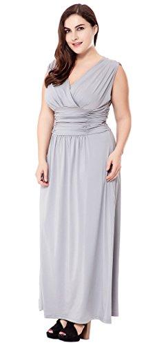 Preferhouse Taille Plus Des Femmes Robes De Soirée Grise Longue Robe Maxi Formelle