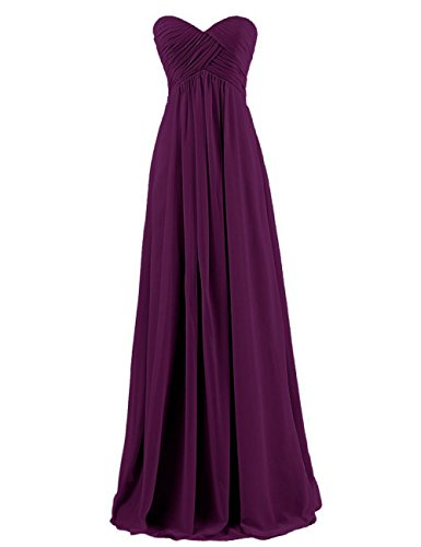 - Long Sweetheart Chiffon Bridesmaid Dress Strapless Pleated Top Prom Dress Plum US16W