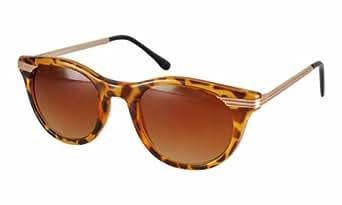 Tortoise Preppy Thin Gold Metal Arm Designer Vintage Leopard Print Sunglasses