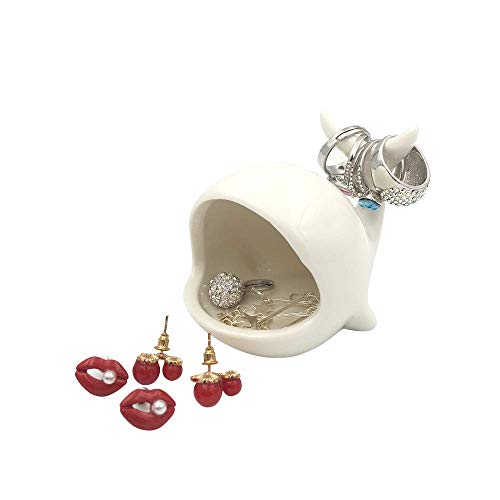 OYLZ Adorable Ceramic Whale Ring Holder Trinket Tray Earrings Stand Display Organizer Holder Jewelry Holder Ornament Home Decoration