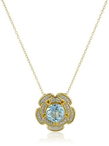 18k Two Tone Gold Pendant - 18k Yellow Gold and Rhodium Plated Sterling Silver Two Tone Round Sky Blue Topaz 6mm Flower Pendant Necklace, 18