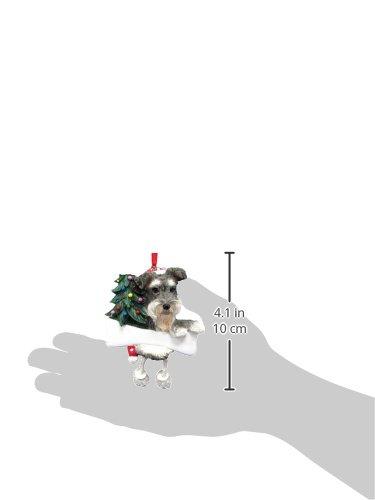 """Ornamento de Schnauzer Gris y blanco con """"Piernas que cuelgan"""" únicas Ornamento de Navidad pintado a mano y fácilmente personalizado"""