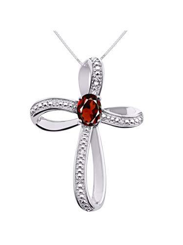 Diamond & Garnet Cross Pendant Necklace Set In Sterling Silver - Necklace Cross Garnet Diamond