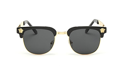 Retro Reflective Color Film Sunglasses Metal Half Frame Trendsetter - Cartier Frame Gold Glasses