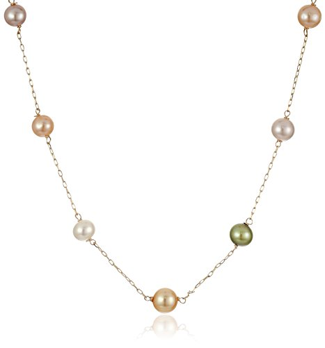 Girls' Freshwater Cultured Multicolored Pastel Pearl Tin Cup 14k Yellow Gold Necklace Pearl Strands, 14