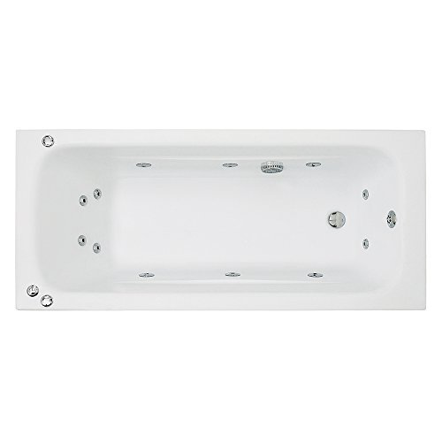 Kansas Maxi 1600mm (L) x 750mm (W) x 410mm (D) Luxury Amanzonite Single Ended Rectangular Whirlpool Bath by Whirlpool Baths