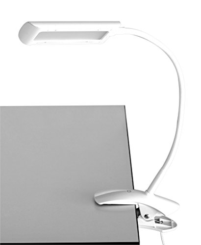 (Safco Products 1004WH Mini Vamp LED Clamp-On Desk Lamp, White)