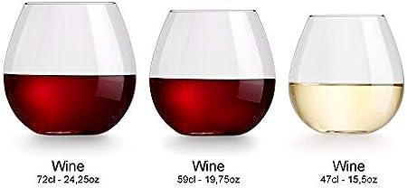 Copa de vino Cami de Libbey - 470 ml - 6 unidades - apto para el lavavajillas – sin pie – moderno y contemporáneo