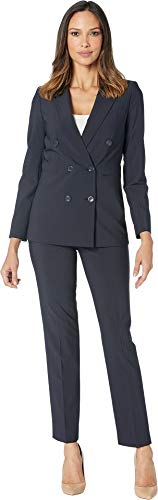Tahari by ASL Women's Shadow Stripe Double Breasted Pants Suit Navy 6