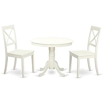 Amazon.com: East West Furniture DLGR3-BLK-W - Juego de mesa ...