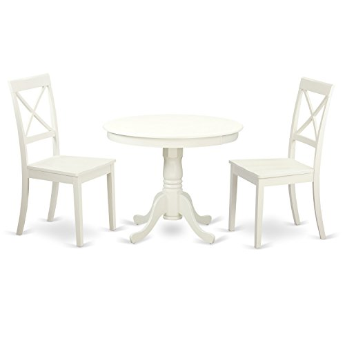 East West Furniture ANBO3-LWH-W 3 PC Set with One Round Table & Two Solid Wood Kitchen Chairs Having A Rich Linen White Finish
