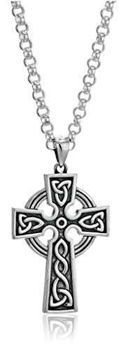 - Mens Cross Necklace Silver 2 Sided 24