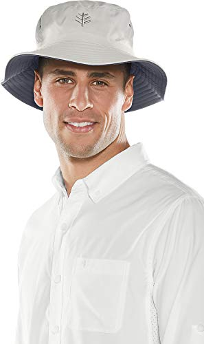 Coolibar UPF 50+ Men's Reversible Bucket Hat - Sun Protective,Small/Medium,Stone/Carbon