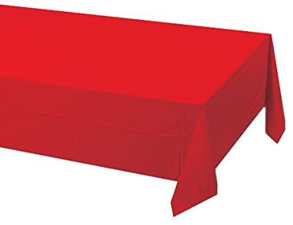 197 & Creative Converting Touch of Color Plastic Lined Table Cover 54 by 108-Inch Classic Red