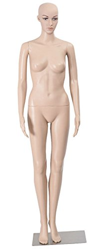 New! Female Mannequin Plastic Realistic Display Head Turns Dress Form w/ Base from Unknown