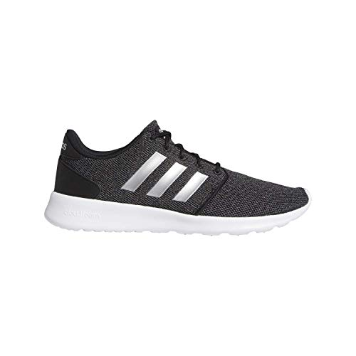 adidas Women's Cloudfoam QT Racer Running Shoe Sneaker, Black/Silver Metallic/Grey, 7.5 M US